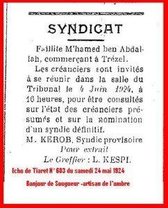 Faillite M'hamed ben Abdallah dans Echo de Tiaret Colonial Faillite-242x300