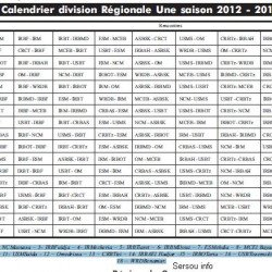Calendrier Division Régionale 1 Saison 2012-2013