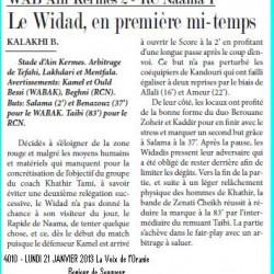 WAB Aïn Kermes 2 – RC Naâma 1 Le Widad, en première mi-temps