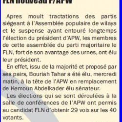 TIARET Bouriah Tahar d'obédience FLN nouveau P/APW