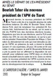 APRÈS LE DÉPART DE L'EX-PRÉSIDENT AU SÉNAT Bouriah Tahar élu nouveau président de l'APW de Tiaret dans Carrefour d-ALGERIE (Le ) bouriah-tahar-elu-nouveau-204x300