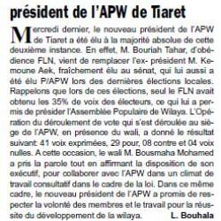 APRÈS LE DÉPART DE L'EX-PRÉSIDENT AU SÉNAT Bouriah Tahar élu nouveau président de l'APW de Tiaret