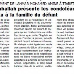 Après l'enterrement de Lahmar Mohamed Amine à Tiaret, Mme Bendjaballah présente les condoléances de Bouteflika à la famille du défunt