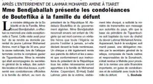 Après l'enterrement de Lahmar Mohamed Amine à Tiaret, Mme Bendjaballah présente les condoléances de Bouteflika à la famille du défunt dans Carrefour d-ALGERIE (Le ) condoleances-300x165