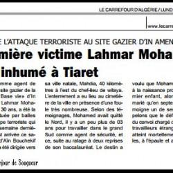 TUÉ LORS DE L'ATTAQUE TERRORISTE AU SITE GAZIER D'IN AMENAS La première victime Lahmar Mohamed Amine inhumé à Tiaret