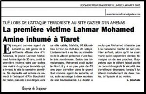 TUÉ LORS DE L'ATTAQUE TERRORISTE AU SITE GAZIER D'IN AMENAS La première victime Lahmar Mohamed Amine inhumé à Tiaret dans Carrefour d-ALGERIE (Le ) lahmar-mohamed-amine-2-300x193