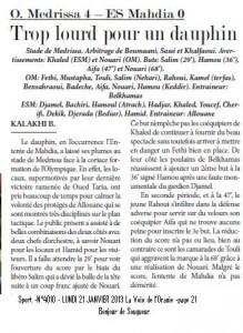 O. Medrissa 4 – ES Mahdia 0 Trop lourd pour un dauphin -KALAKHI B. dans Kalakhi .B medrissa-mahdia-219x300