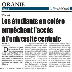 Les étudiants en colère empêchent l'accès à l'université centrale