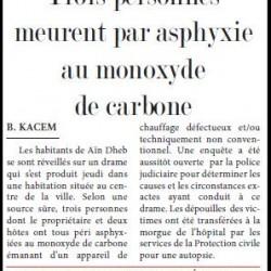 Trois personnes meurent par asphyxie au monoxyde de carbone