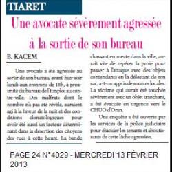 Tiaret -Une avocate sévèrement agressée à la sortie de son bureau