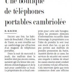 Bouchekif (Tiaret) Une boutique de téléphones portables cambriolée