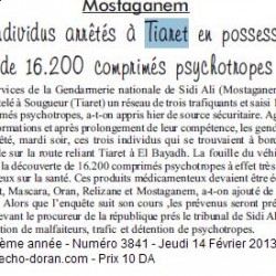 Mostaganem 3 individus arrêtés à Tiaret en possession de 16.200 comprimés psychotropes