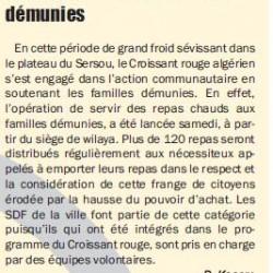TIARET Le Croissant rouge algérien à la rescousse des familles démunies