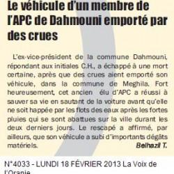 TIARET Le véhicule d'un membre de l'APC de Dahmouni emporté par des crues