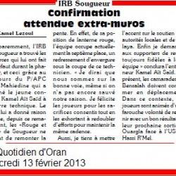 IRB Sougueur : Confirmation attendue extra-muros par Kamel Lezoul