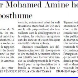 Lahmar Mohamed Amine honoré à titre posthume