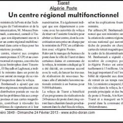 Tiaret Algérie Poste Un centre régional multifonctionnel