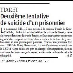 Tiaret : deuxième tentative de suicide d'un prisonnier