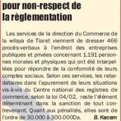 TIARET 466 PV dressés par la DCP pour non-respect de la règlementation