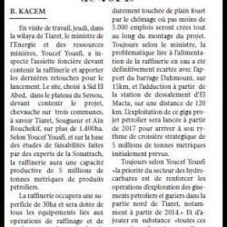 Youcef Yousfi à Tiaret «L'exploration des gisements pétroliers et gaziers dans le nord de Tiaret, à partir de 2014»