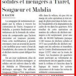 Campagne de nettoiement 5.775 tonnes de déchets solides et ménagers à Tiaret, Sougueur et Mahdia