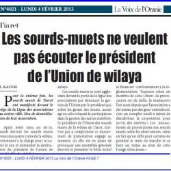 Tiaret Les sourds-muets ne veulent pas écouter le président de l'Union de wilaya