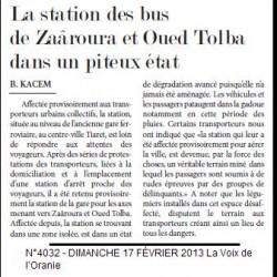Tiaret La station des bus de Zaâroura et Oued Tolba dans un piteux état