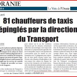 Tiaret 81 chauffeurs de taxis épinglés par la direction du Transport