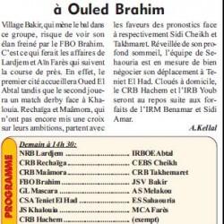 Régionale Deux – Groupe «B» 19ème Journée Le leader en danger à Ouled Brahim