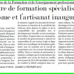 Visite du ministre de la Formation et de l'enseignement professionnels à Tiaret Un centre de formation spécialisé dans le tourisme et l'artisanat inauguré