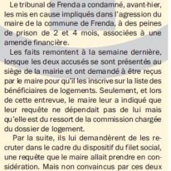 TIARET Des peines de 2 et 4 mois de prison pour les agresseurs du maire de Frenda