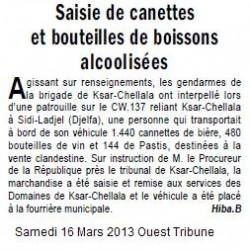 TIARET Saisie de canettes et bouteilles de boissons alcoolisées