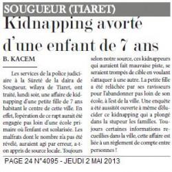 SOUGUEUR -Kidnapping avorté d'une enfant de 7 ans