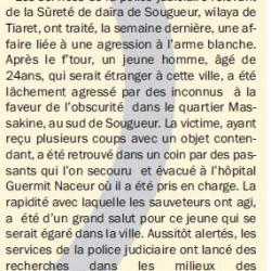 TIARET Un jeune agressé à l'arme blanche à Sougueur