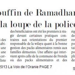Sougueur (Tiaret) Le couffin de Ramadhan sous la loupe de la police