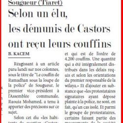 Sougueur (Tiaret) Selon un élu, les démunis de Castors ont reçu leurs couffins