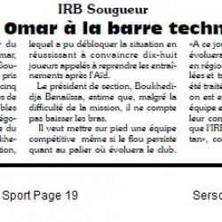 IRB Sougueur : Khiati Omar à la barre technique par Kamel Lezoul