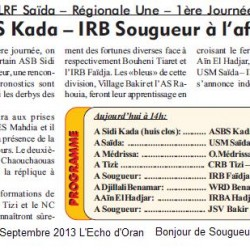 LRF Saïda – Régionale Une – 1ère Journée ASBS Kada – IRB Sougueur à l'affiche