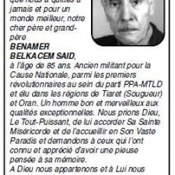 PENSÉE +BENAMER BELKACEM SAID