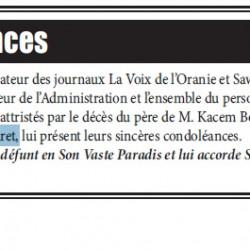 Décès du père de M. Kacem Boudali, correspondant de La Voix de l'Oranie à Tiaret,